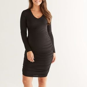 Stork&Babe black ruched maternity dress